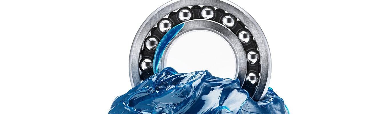 ball bearing in blue grease screen